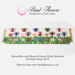 Peyote stitch bracelet pattern: butterflies and flowers design, Katie Dean, Beadflowers