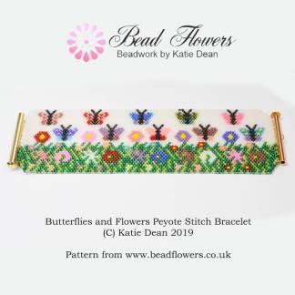 PP35 Flower Bead Loom or Peyote Stitch Bracelet Delica Bead Bracelet Pattern
