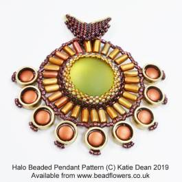 Halo beaded pendant, Katie Dean, Beadflowers