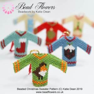 Beaded Christmas Sweater pattern, Katie Dean, Beadflowers