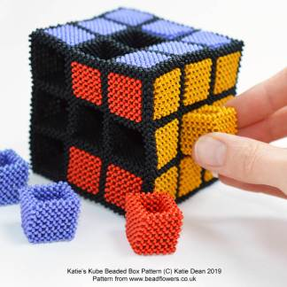 Katies Kube Beaded Box Tutorial, Katie Dean, Beadflowers