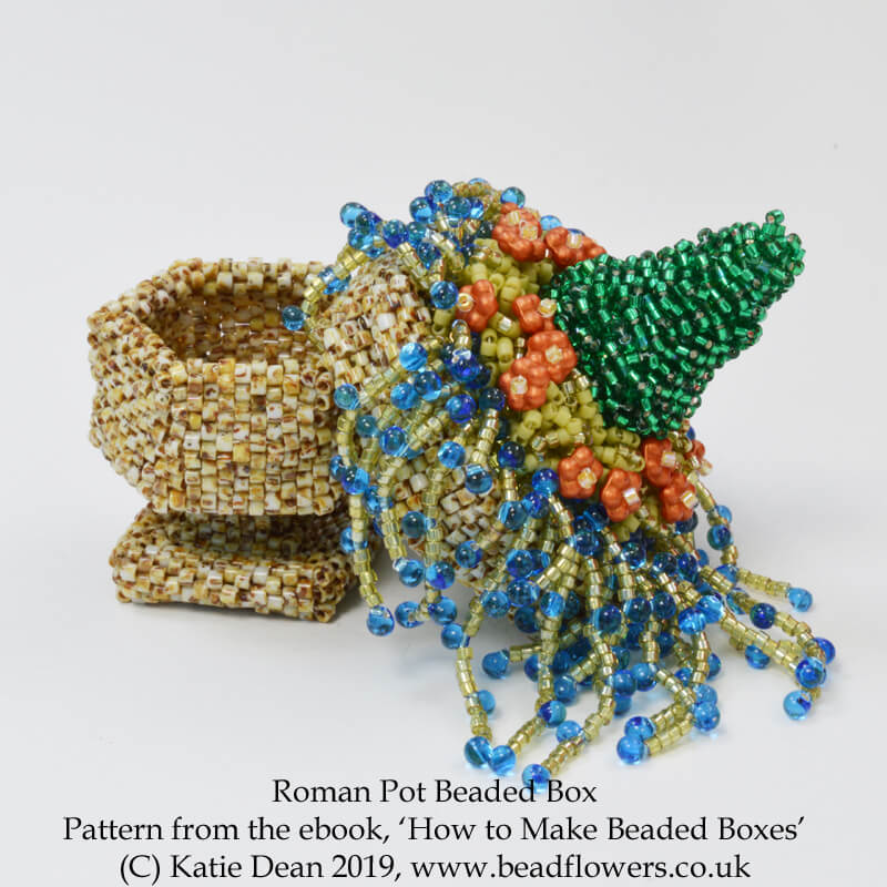 Roman Pot Beaded Box, from the Ebook, How to make beaded boxes: 7 flower pot designs, by Katie Dean, Beadflowers