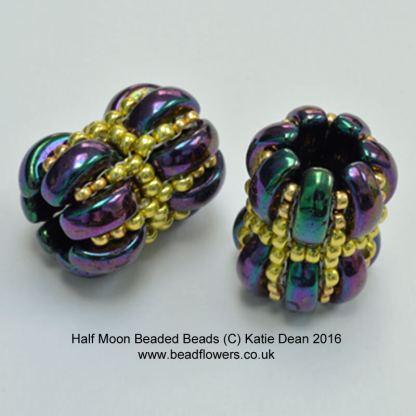 Half Moon Beads beaded bead pattern, Katie Dean, Beadflowers