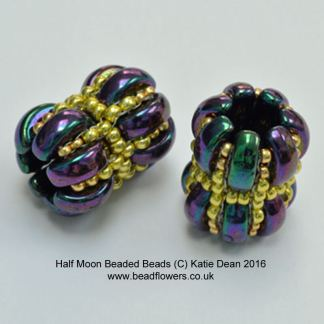 Half Moon Beads beaded bead pattern, Katie Dean, Beadflowers