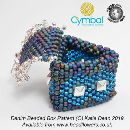 Denim beaded box pattern, Katie Dean, Beadflowers