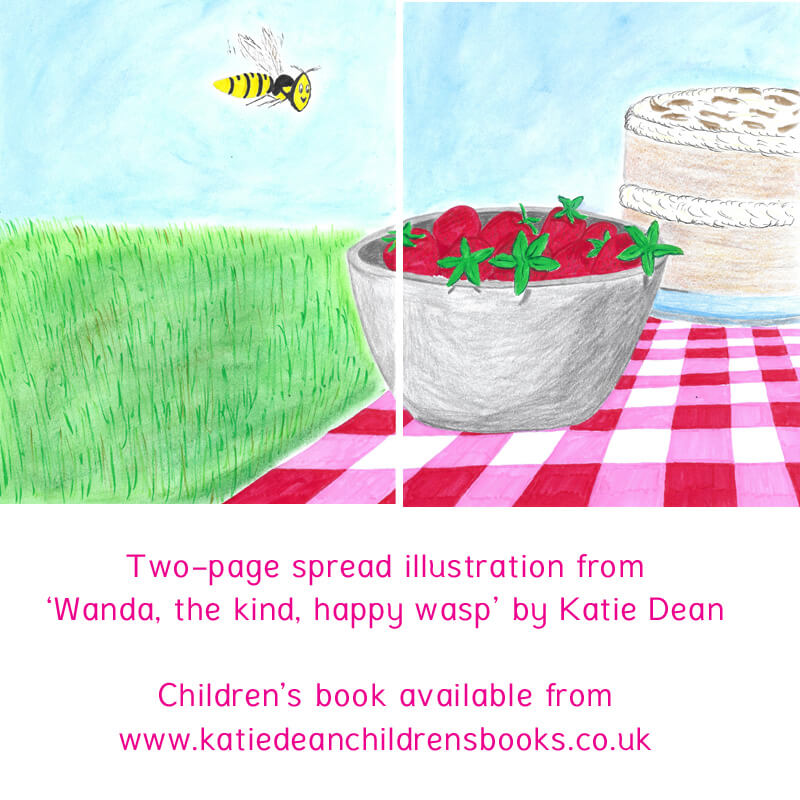 Illustrations from the Children's Book, 'Wanda the Kind Happy Wasp', by Katie Dean