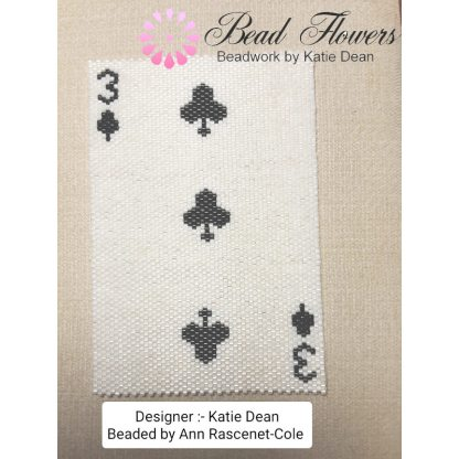Beaded playing card, stitched by Ann, Katie Dean, Beadflowers
