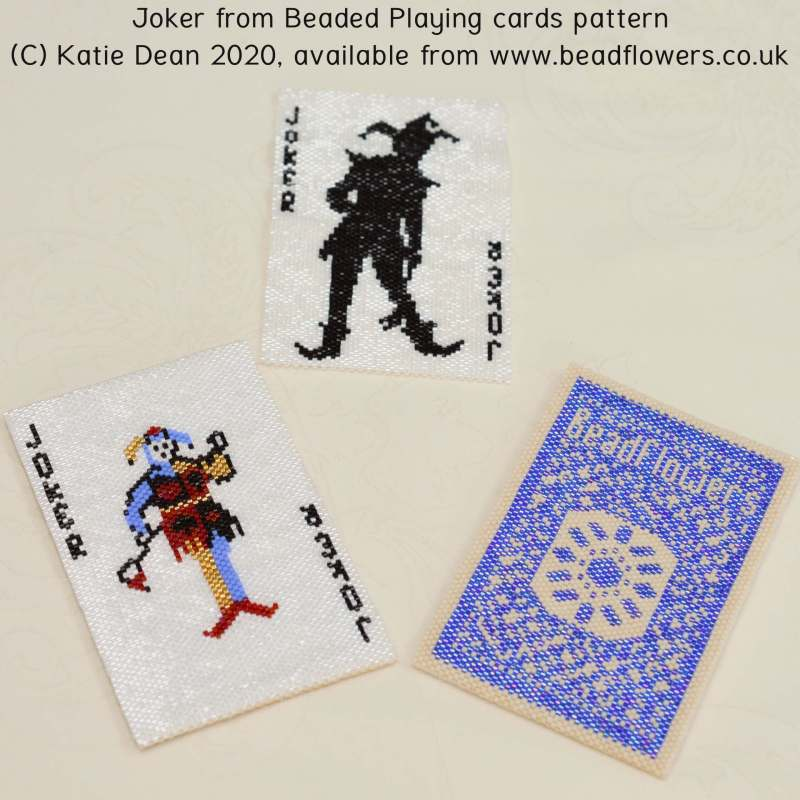Joker beaded playing card pattern, Katie Dean, Beadflowers