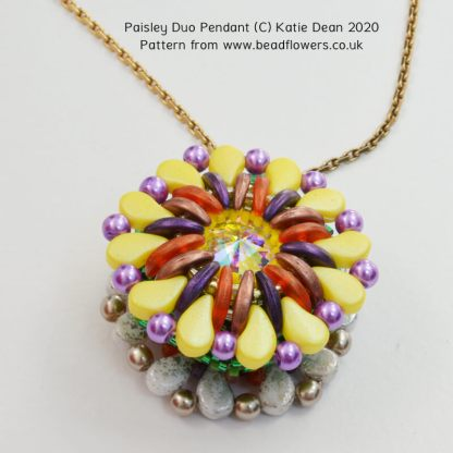 Paisley Duo Pendant Pattern, Katie Dean, Beadflowers