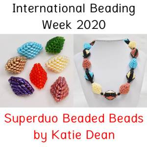 Superduo beaded beads for International Beading Week 2020