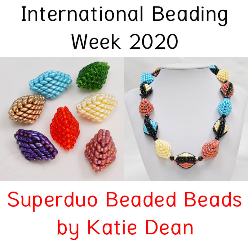 Superduo beaded beads for International Beading Week 2020