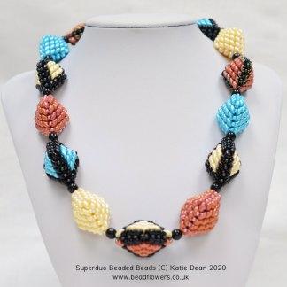 Superduo beaded beads necklace, Katie Dean, Beadflowers