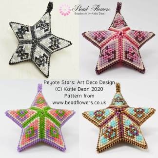 Beaded peyote star pattern: art deco design, by Katie Dean, Beadflowers