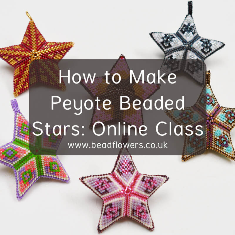 How to make Peyote beaded stars, online class by Katie Dean