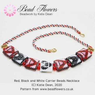 Black white red carrier beads necklace, Katie Dean, Beadflowers