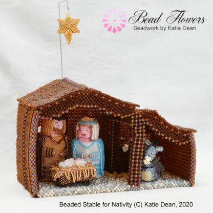 Beaded stable for Nativity, Katie Dean, Beadflowers