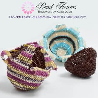 Chocolate Easter egg beaded box pattern, Katie Dean, Beadflowers
