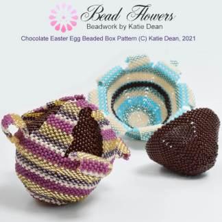 Chocolate Easter egg beaded box pattern, Katie Dean, Beadflowers