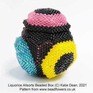 Liquorice allsorts beaded box pattern, Katie Dean, Beadflowers