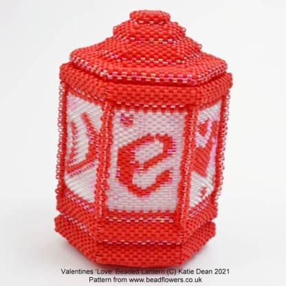 Valentines beaded lantern side pattern, Katie Dean, Beadflowers