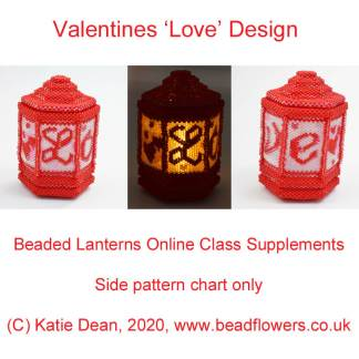 Valentines beaded lantern side pattern, Katie Dean, Beadflowers