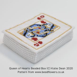 Queen of Hearts beaded box pattern, Katie Dean, Beadflowers