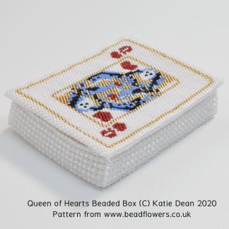 Queen of Hearts beaded box pattern, Katie Dean, Beadflowers