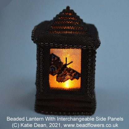Beaded Lanterns With Interchangeable Side Panels, peacock butterfly design, by Katie Dean, Beadflowers
