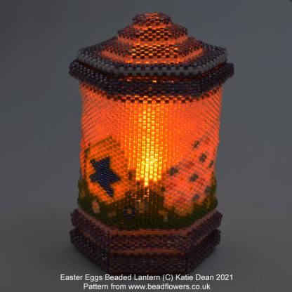 Easter eggs beaded lantern pattern chart for the online class by Katie Dean