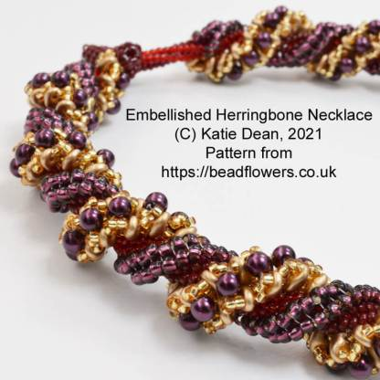 Embellished Herringbone Spiral Necklace, Katie Dean, Beadflowers