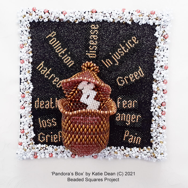 Pandora's Box, my beaded square project by Katie Dean
