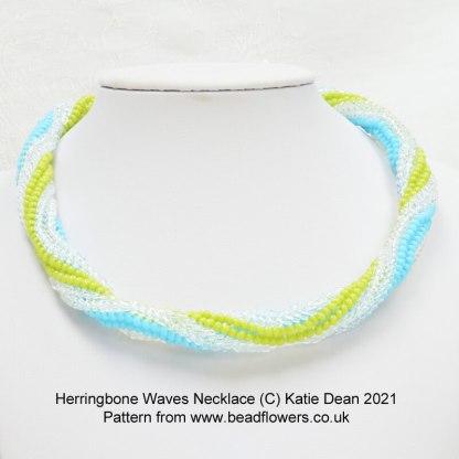 Herringbone Waves Necklace pattern, Katie Dean, Beadflowers