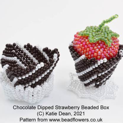 Chocolate Dipped Strawberry Beaded Boxes, Katie Dean, Beadflowers
