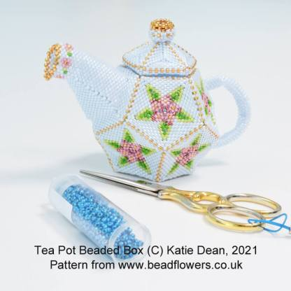 Tea pot beaded box pattern, Katie Dean, Beadflowers