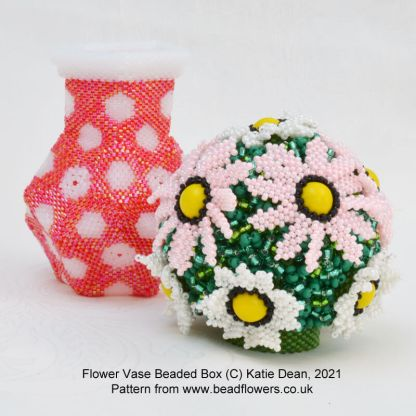 Flower vase beaded box pattern, Katie Dean, Beadflowers
