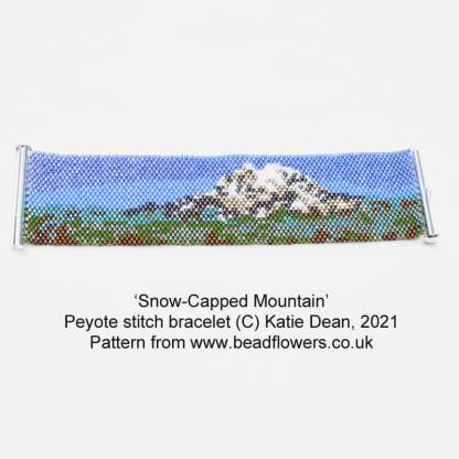 Even count Peyote bookmark or bracelet, snow-capped mountain design, by Katie Dean, Beadflowers