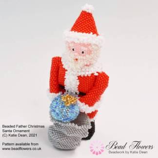 Beaded Father Christmas Santa Ornament Tutorial, Katie Dean, Beadflowers