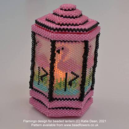 Flamingo beaded lantern pattern chart for online lanterns class, by Katie Dean