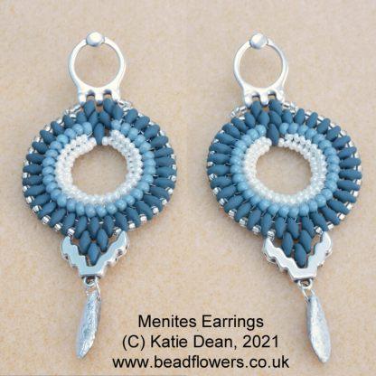 Menites Cymbal Elements earrings pattern by Katie Dean, Beadflowers