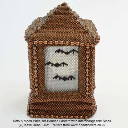 Beaded bat and moon Peyote stitch panel for beaded lantern with interchangeable side panels, by Katie Dean, Beadflowers