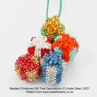 Beaded Christmas parcel tree decorations pattern, Katie Dean, Beadflowers