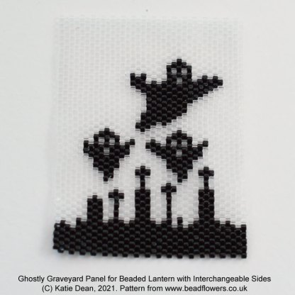 Ghostly graveyard peyote stitch panel for beaded lantern with interchangeable sides, Katie Dean, Beadflowers