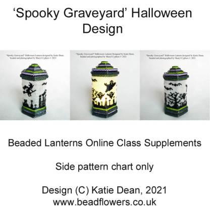 Spooky graveyard Halloween lantern side pattern chart for beaded lanterns online class by Katie Dean