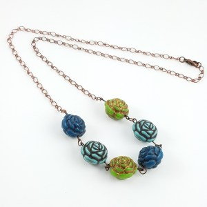 blue green roses necklace
