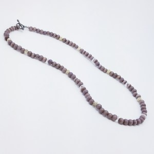 purple tones with silver and crystal necklace