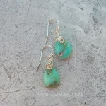 Blue green Andean opal earrings with sterling silver
