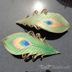 leather peacock feather barrettes