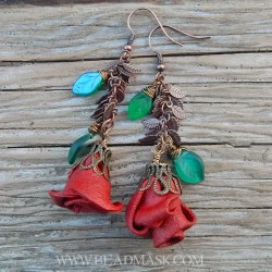 red leather rose bud earrings