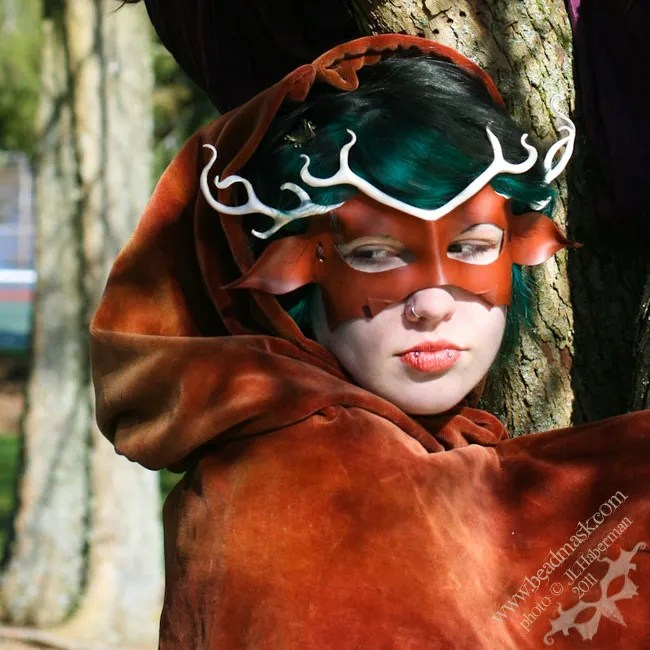 Antlered Stag leather mask