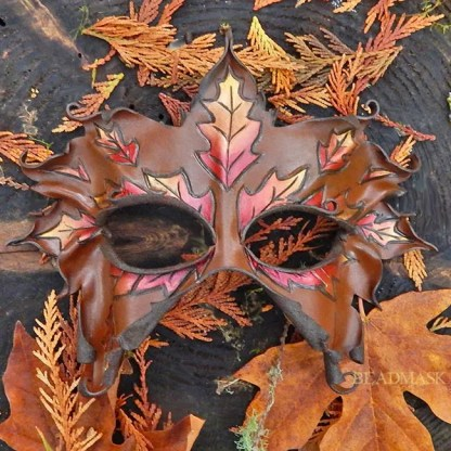 Woodland leather mask with fall oak leaf motif